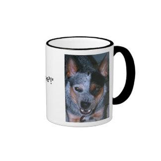 Taza de café azul de Heeler