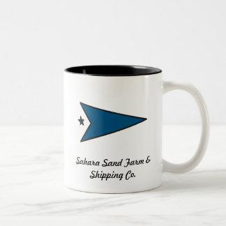 taza de café azul de SSF&SCo de la flecha