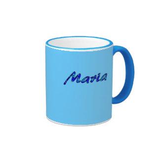Taza de café azul del campanero para Maria