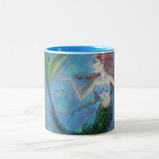 Taza de café azul del Dos-Tono 15oz de la sirena