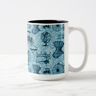 Taza de café azul del modelo de Steampunk