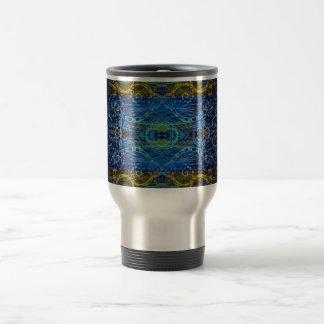 Taza de café azul del remolino