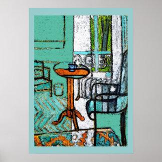 Taza de café azul, estilo de Matisse Póster