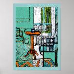 Taza de café azul, estilo de Matisse Posters