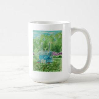 Taza de café azul vieja del arte de la acuarela de