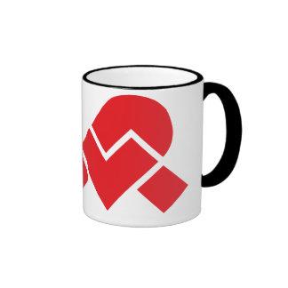 Taza de café blanca/roja del campanero de XWP
