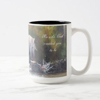 Taza de café blanca salvaje del semental