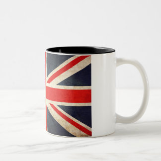 Taza de café británica retra del Dos-Tono de la
