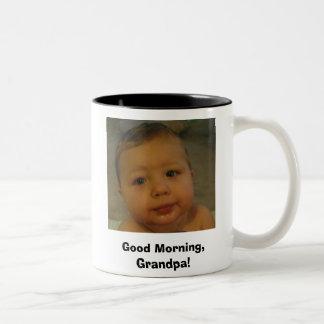 ¡taza de café, buena mañana, abuelo! taza de dos tonos