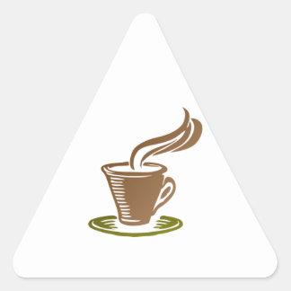 Taza de café caliente de cocido al vapor al vapor pegatina triangular