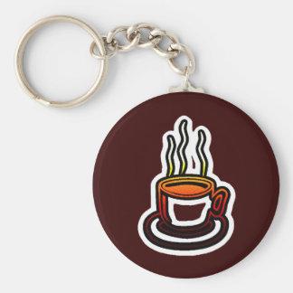 Taza de café caliente del cacao llavero redondo tipo pin