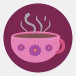 Taza de café caliente pegatina redonda
