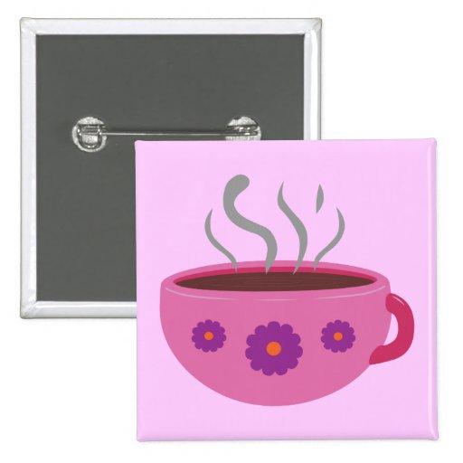 Taza de café caliente pin cuadrado
