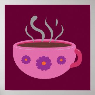 Taza de café caliente póster