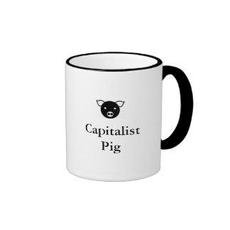 Taza de café capitalista del cerdo
