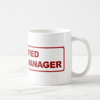 Taza de café certificada del gestor de proyecto