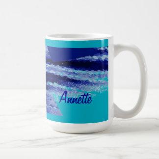 Taza de café clásica azul abstracta de Annette