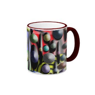 Taza de café colorida con la mirada 3D
