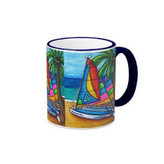 Taza de café colorida de la afición