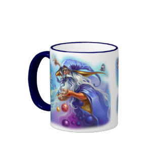 Taza de café colorida del encanto del mago