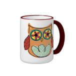 Taza de café colorida linda del búho