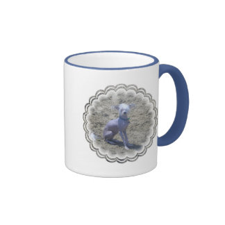 Taza de café con cresta china del perro