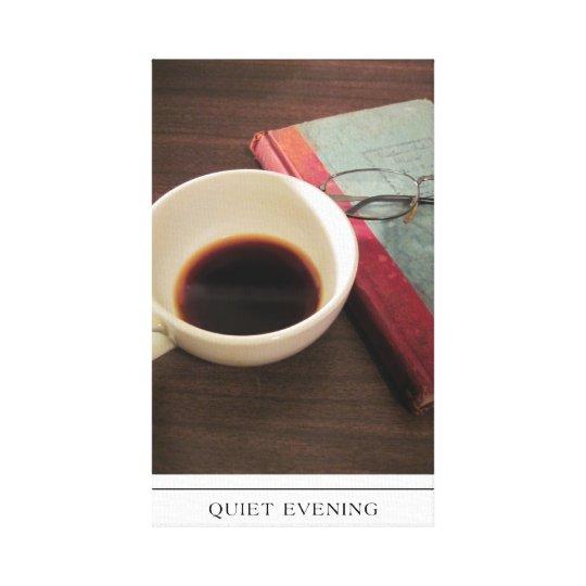 Taza de café con el libro en lona impresión en lienzo
