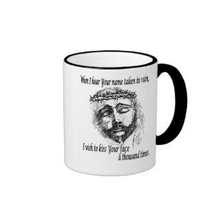 Taza de café con la cabeza de Cristo