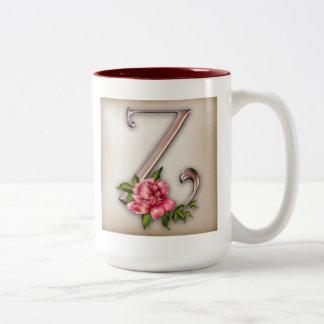 Taza de café con la inicial adornada magnífica Z