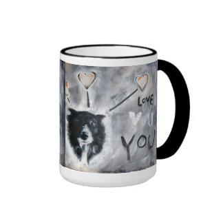 Taza de café con la pintura del border collie