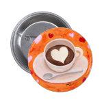Taza de café con los corazones pins