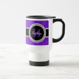 Taza de café con monograma del viajero del brillo