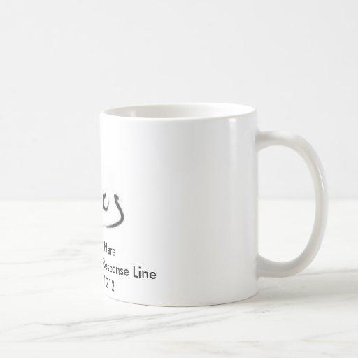 Taza de café con su número de teléfono de las admi