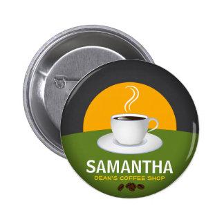 Taza de café conocida de la cafetería de las pin redondo de 2 pulgadas