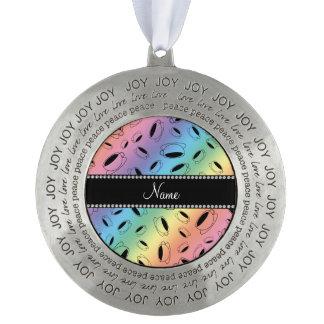 Taza de café conocida personalizada del arco iris adorno redondo de peltre