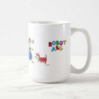 Taza de café de ABC del robot por la caza de Jerry