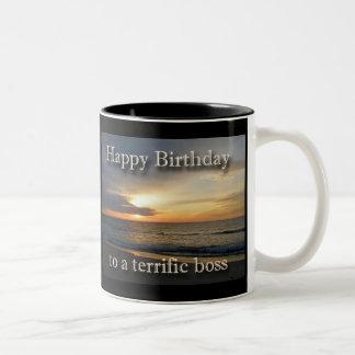 Taza de café de Boss del cumpleaños de la salida d