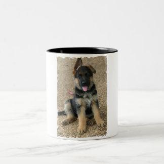Taza de café de cerámica del perrito del pastor al