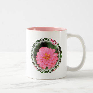 Taza de café de cerámica del Zinnia rosado