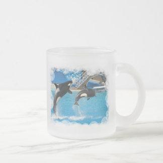 Taza de café de cristal de las ballenas de la orca