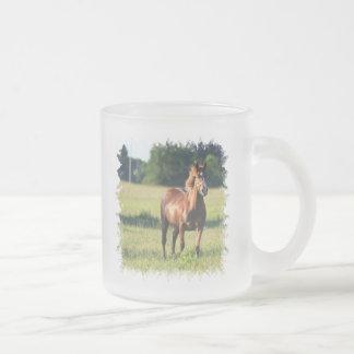 Taza de café de cristal derecha del caballo de la