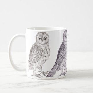 Taza de café de cuatro búhos - impresión manchada