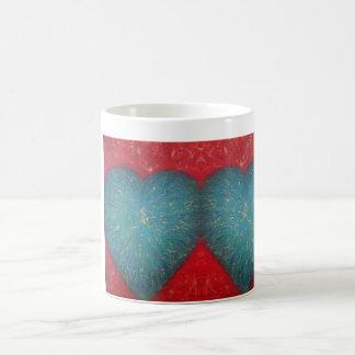 Taza de café de dos corazones