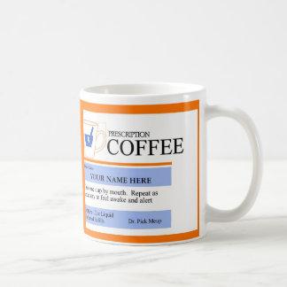 Taza de café de encargo de la prescripción