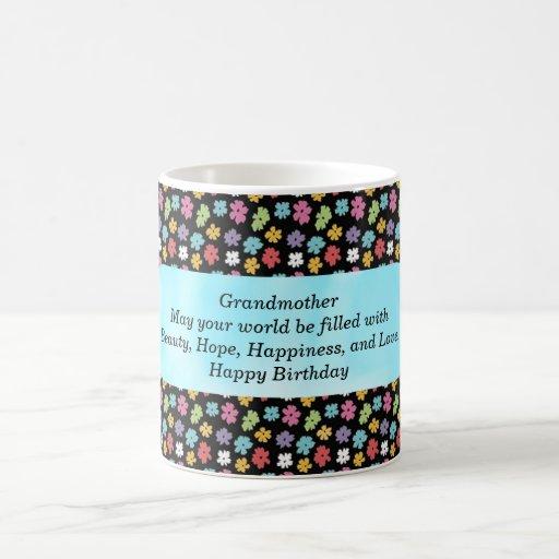Taza de café de la abuela del feliz cumpleaños
