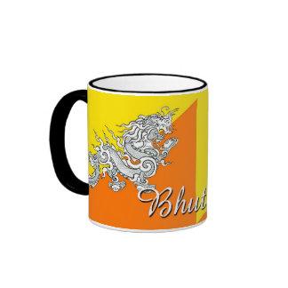 Taza de café de la bandera de Bhután