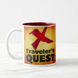 Taza de café de la búsqueda del viajero