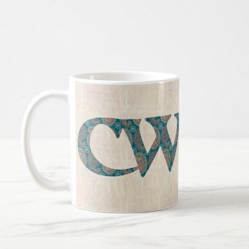 Taza de café de la diversión, lema Galés Paisley C