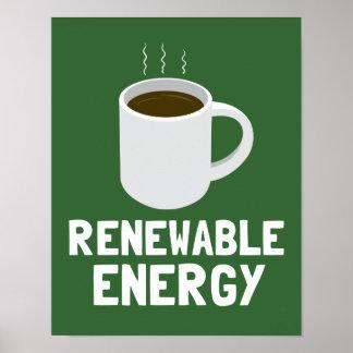 Taza de café de la energía renovable póster