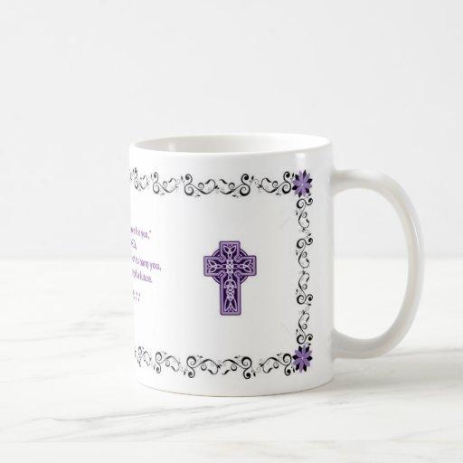 Taza de café de la escritura - negro y púrpura
